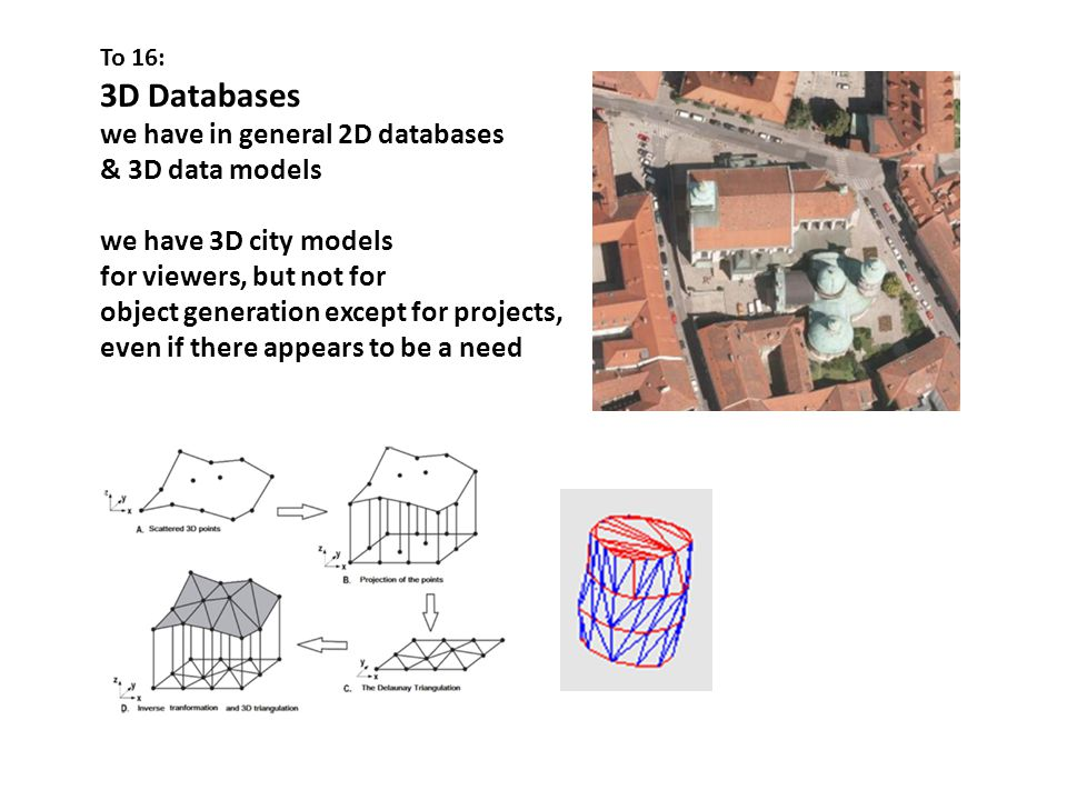 To 16: 3D Databases we have in general 2D databases & 3D data models we have 3D city models for viewers, but not for object generation except for projects, even if there appears to be a need