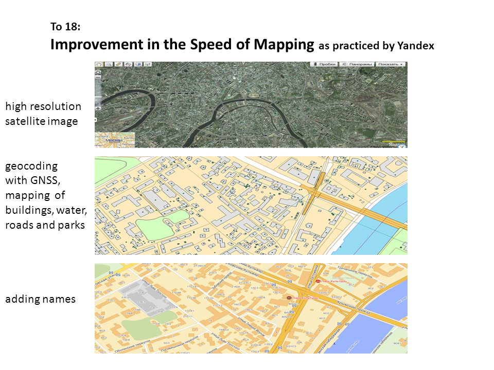 To 18: Improvement in the Speed of Mapping as practiced by Yandex high resolution satellite image geocoding with GNSS, mapping of buildings, water, roads and parks adding names