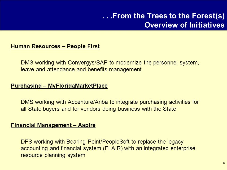 6...From the Trees to the Forest(s) Overview of Initiatives Human Resources – People First DMS working with Convergys/SAP to modernize the personnel s
