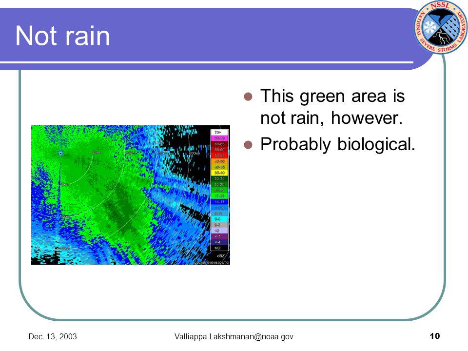 Dec. 13, 2003Valliappa.Lakshmanan@noaa.gov10 Not rain This green area is not rain, however. Probably biological.