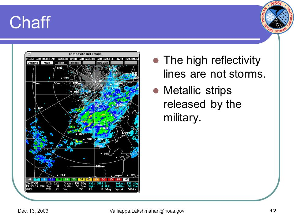 Dec.13, 2003Valliappa.Lakshmanan@noaa.gov12 Chaff The high reflectivity lines are not storms.