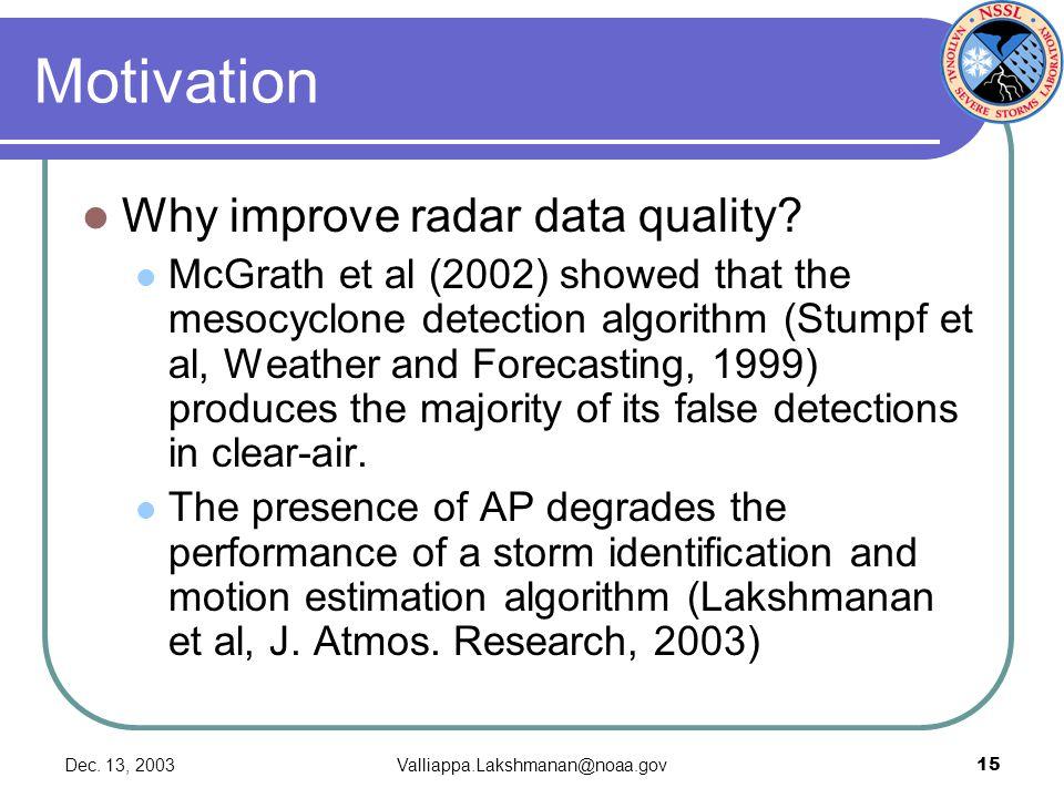 Dec. 13, 2003Valliappa.Lakshmanan@noaa.gov15 Motivation Why improve radar data quality? McGrath et al (2002) showed that the mesocyclone detection alg