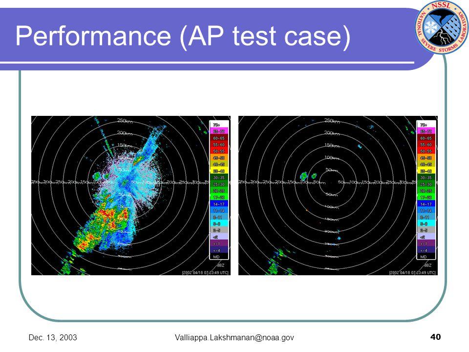 Dec. 13, 2003Valliappa.Lakshmanan@noaa.gov40 Performance (AP test case)