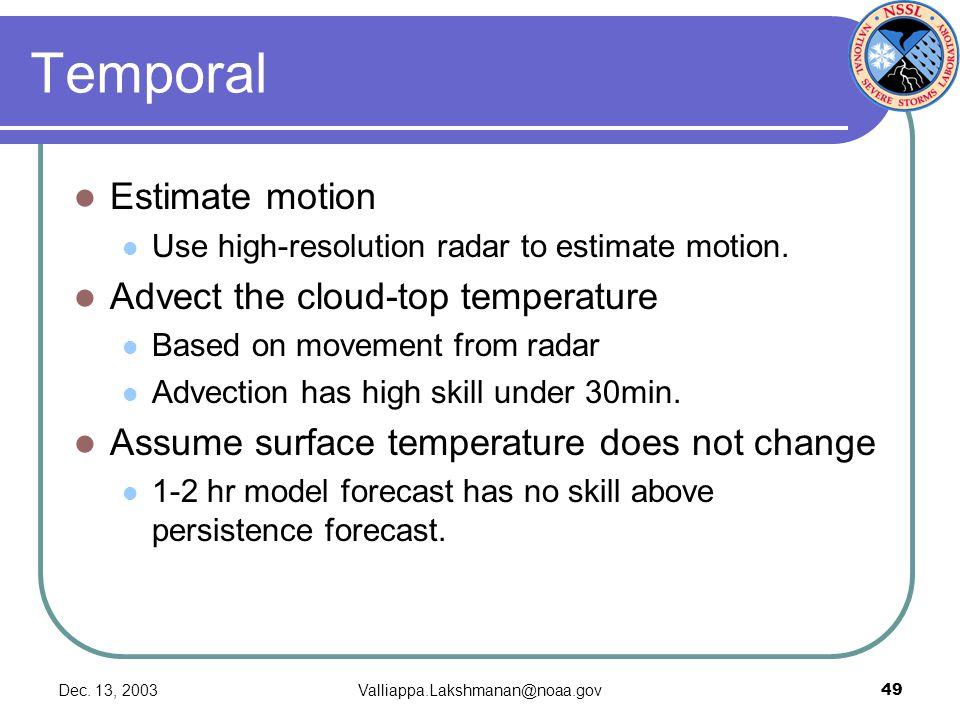 Dec. 13, 2003Valliappa.Lakshmanan@noaa.gov49 Temporal Estimate motion Use high-resolution radar to estimate motion. Advect the cloud-top temperature B