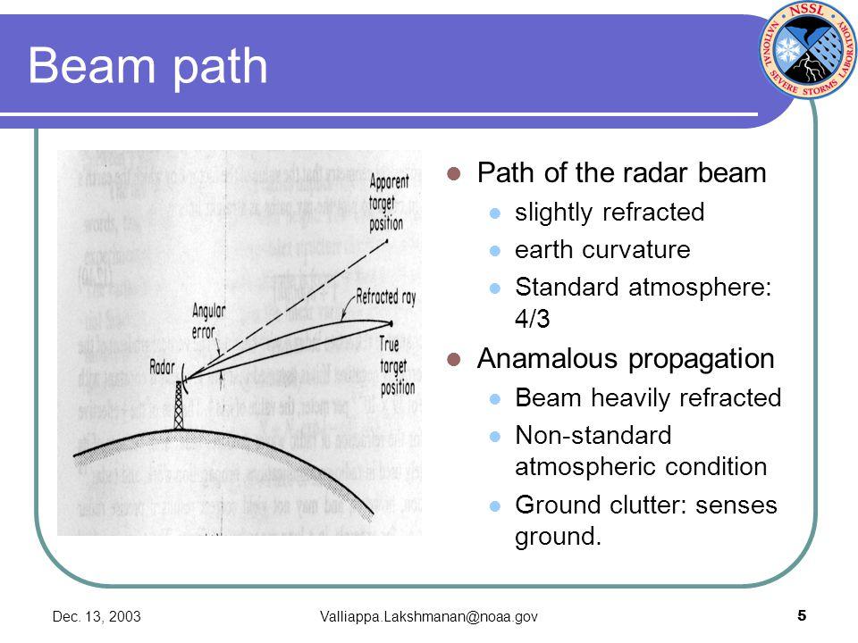 Dec. 13, 2003Valliappa.Lakshmanan@noaa.gov5 Beam path Path of the radar beam slightly refracted earth curvature Standard atmosphere: 4/3 Anamalous pro
