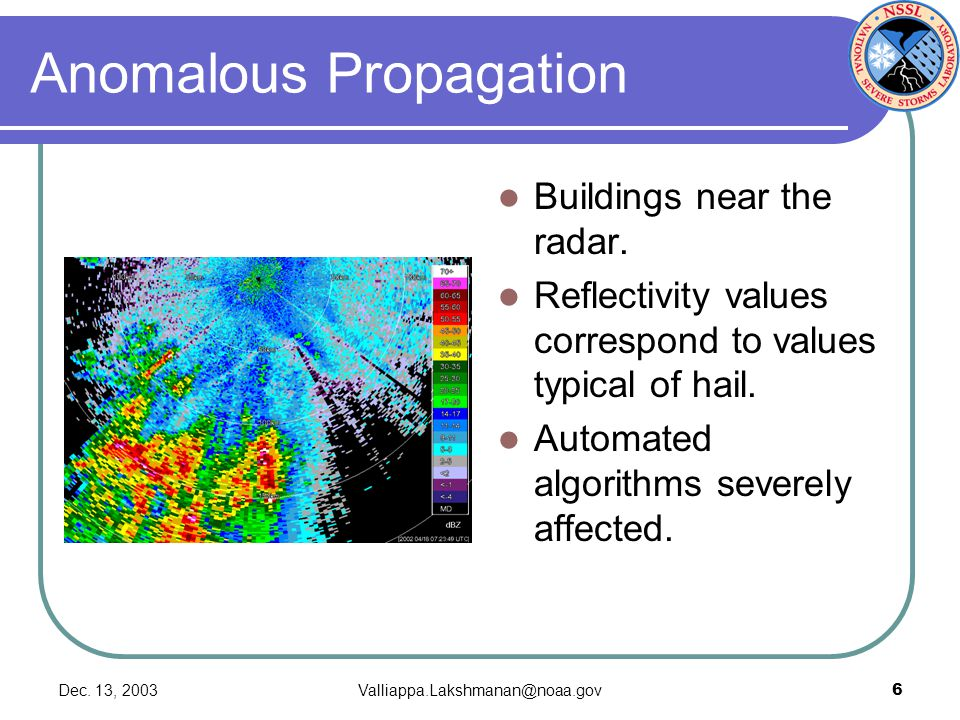 Dec. 13, 2003Valliappa.Lakshmanan@noaa.gov6 Anomalous Propagation Buildings near the radar. Reflectivity values correspond to values typical of hail.