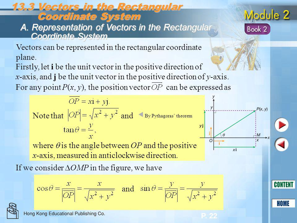 P. 22 Firstly, let i be the unit vector in the positive direction of x-axis, and j be the unit vector in the positive direction of y-axis. 13.3 Vector