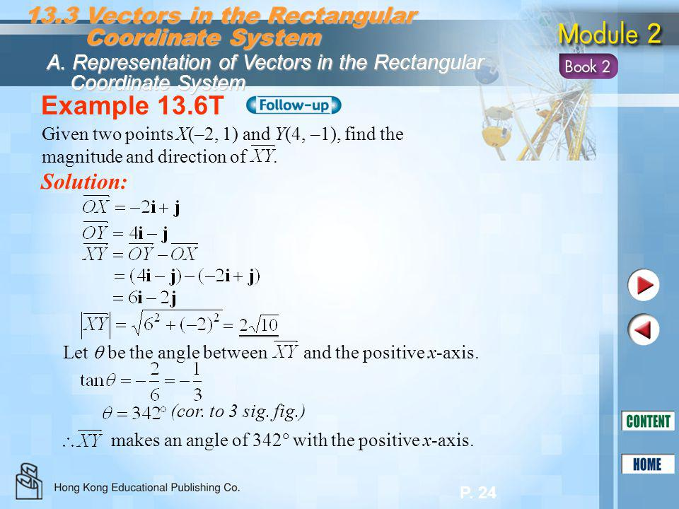 P. 24 Example 13.6T Solution: 13.3 Vectors in the Rectangular Coordinate System Coordinate System A. Representation of Vectors in the Rectangular Coor