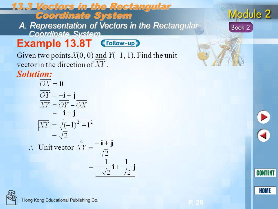 P. 26 Example 13.8T Solution: 13.3 Vectors in the Rectangular Coordinate System Coordinate System A. Representation of Vectors in the Rectangular Coor
