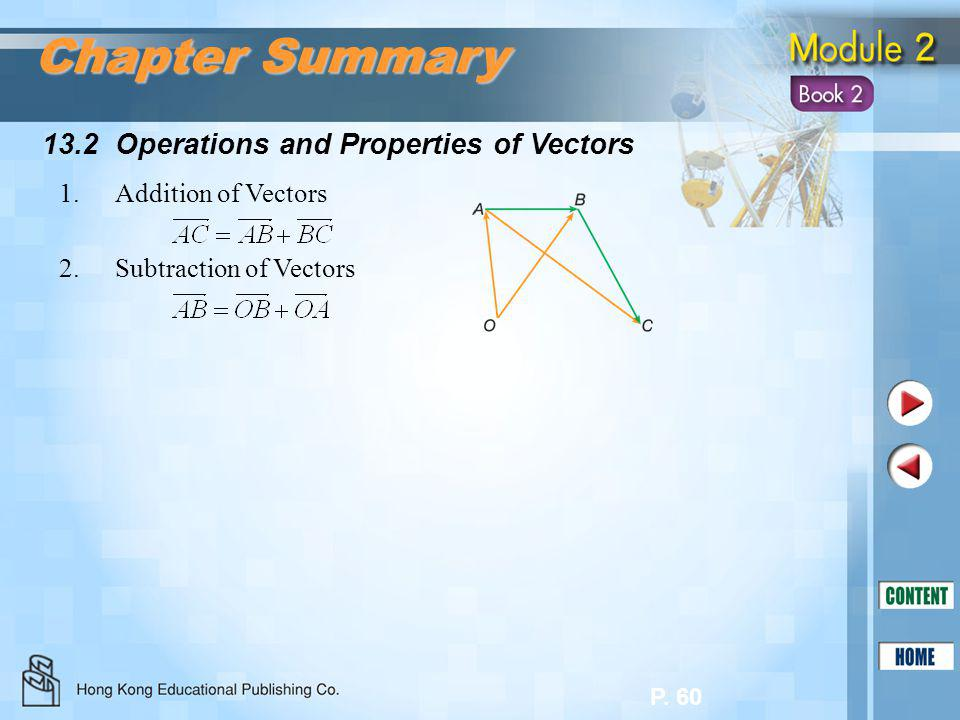 P. 60 13.2 Operations and Properties of Vectors Chapter Summary 1.Addition of Vectors 2.Subtraction of Vectors
