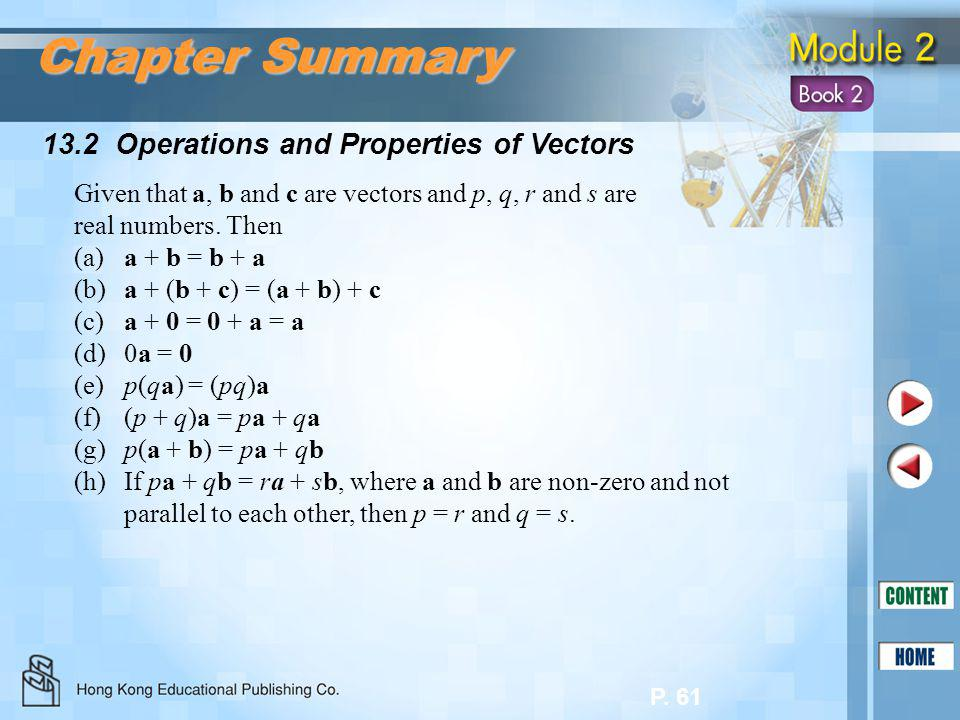 P. 61 13.2 Operations and Properties of Vectors Chapter Summary Given that a, b and c are vectors and p, q, r and s are real numbers. Then (a)a + b =