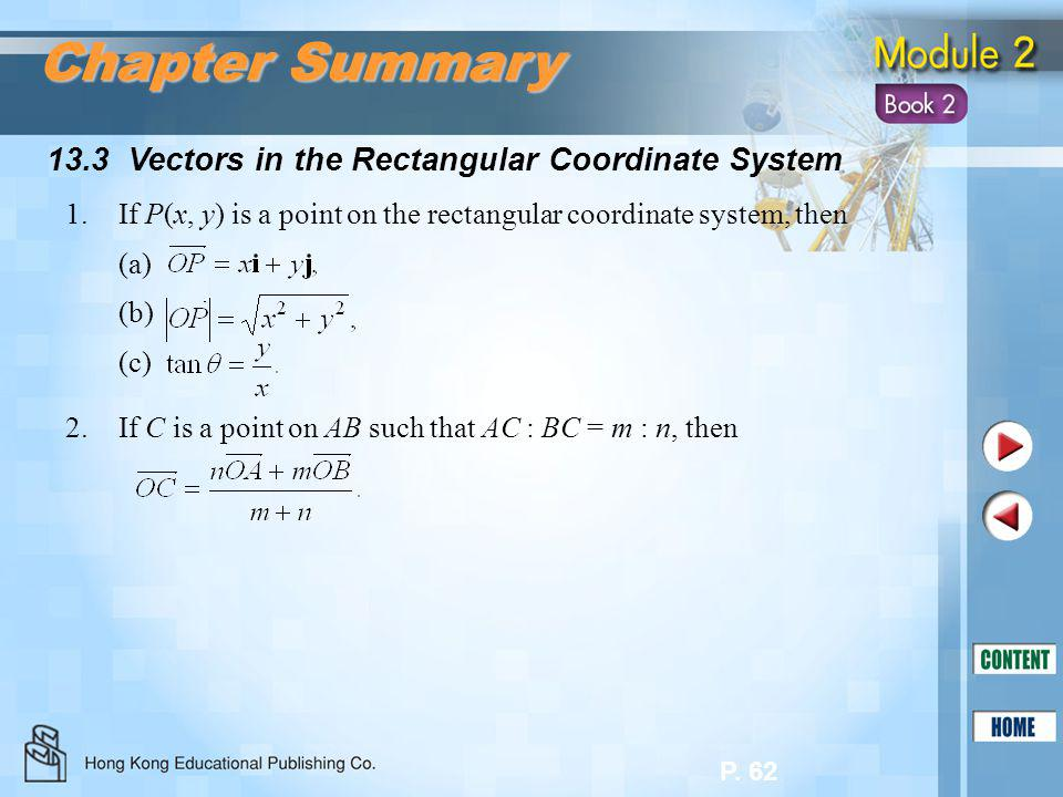 P. 62 13.3 Vectors in the Rectangular Coordinate System Chapter Summary 1.If P(x, y) is a point on the rectangular coordinate system, then (a) (b) (c)