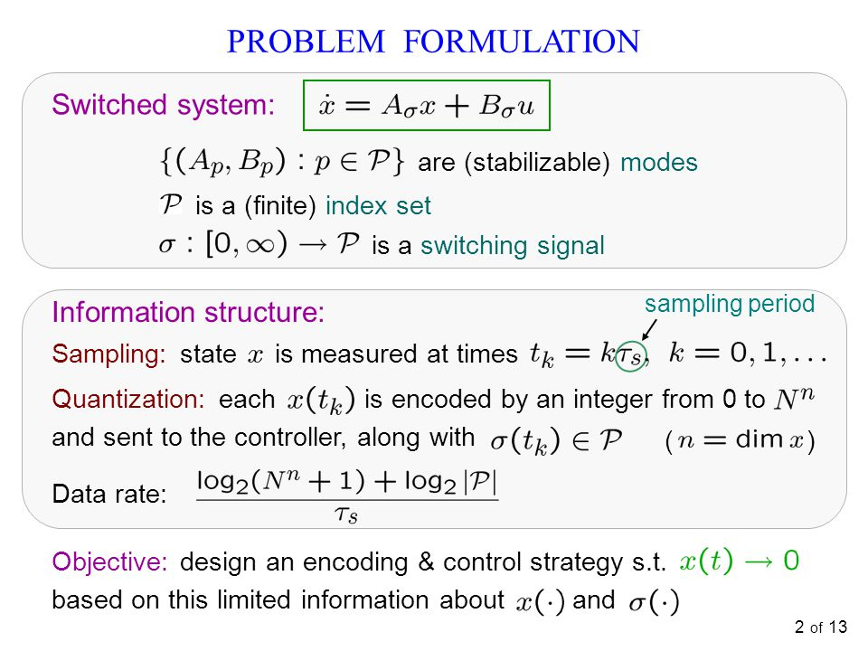 2 of 13 PROBLEM FORMULATION Information structure: Objective: design an encoding & control strategy s.t.