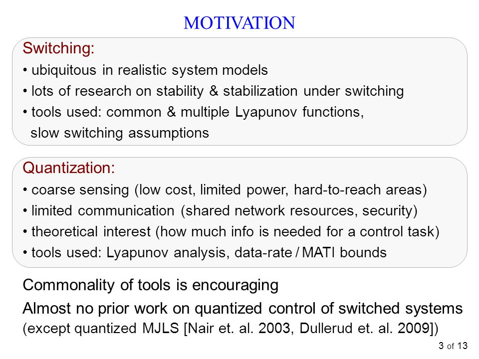 3 of 13 MOTIVATION Switching: ubiquitous in realistic system models lots of research on stability & stabilization under switching tools used: common & multiple Lyapunov functions, slow switching assumptions Quantization: coarse sensing (low cost, limited power, hard-to-reach areas) limited communication (shared network resources, security) theoretical interest (how much info is needed for a control task) tools used: Lyapunov analysis, data-rate / MATI bounds Commonality of tools is encouraging Almost no prior work on quantized control of switched systems (except quantized MJLS [Nair et.