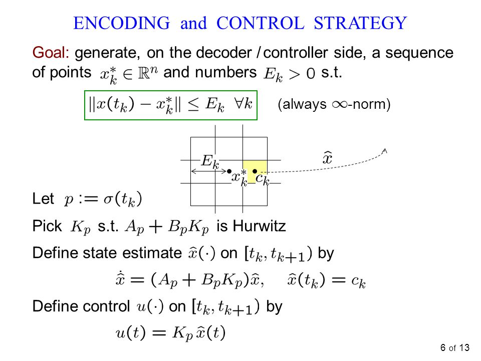 6 of 13 ENCODING and CONTROL STRATEGY Let Pick s.t.