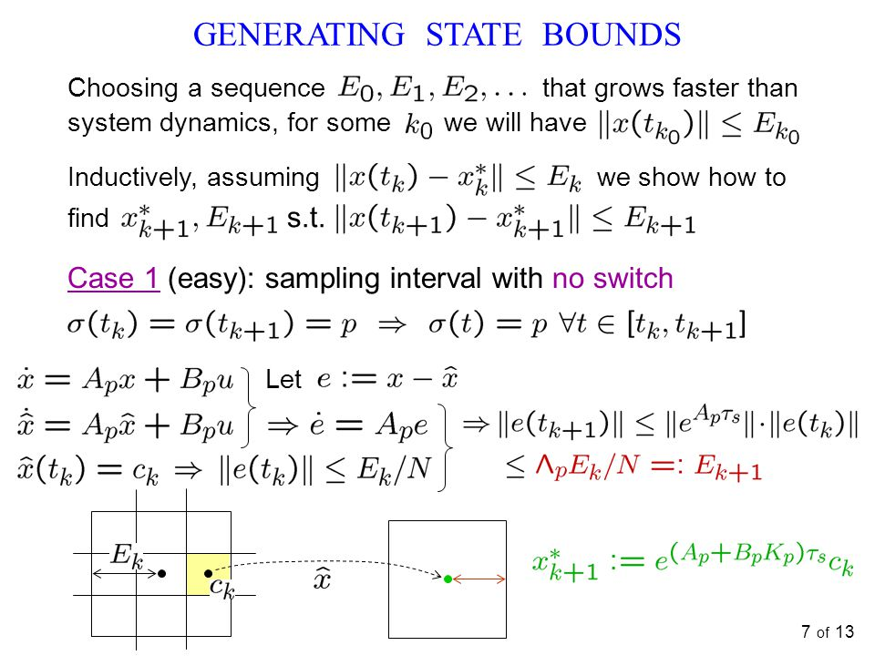 7 of 13 GENERATING STATE BOUNDS Choosing a sequence that grows faster than system dynamics, for some we will have Inductively, assuming we show how to find s.t.