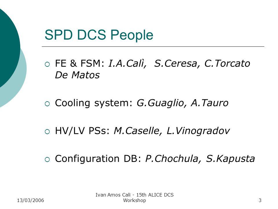 13/03/2006 Ivan Amos Calì - 15th ALICE DCS Workshop3 SPD DCS People  FE & FSM: I.A.Calì, S.Ceresa, C.Torcato De Matos  Cooling system: G.Guaglio, A.Tauro  HV/LV PSs: M.Caselle, L.Vinogradov  Configuration DB: P.Chochula, S.Kapusta