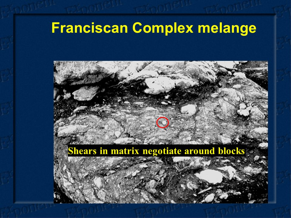 Franciscan Complex melange Shears in matrix negotiate around blocks