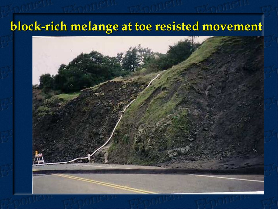 block-rich melange at toe resisted movement
