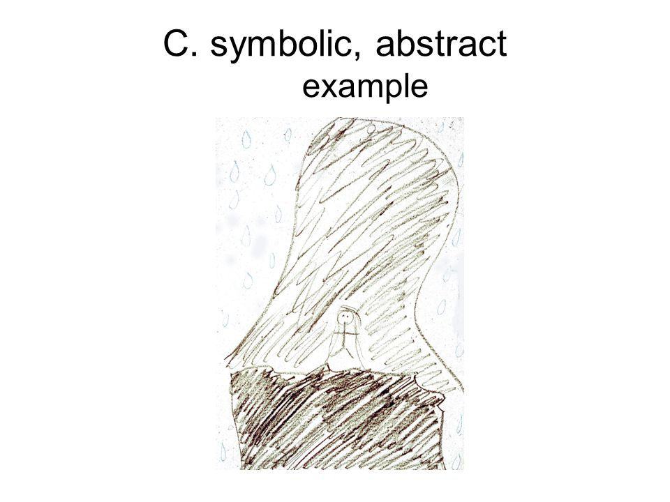 C. symbolic, abstract example