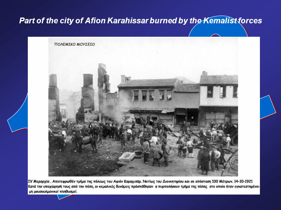 Part of the city of Afion Karahissar burned by the Kemalist forces