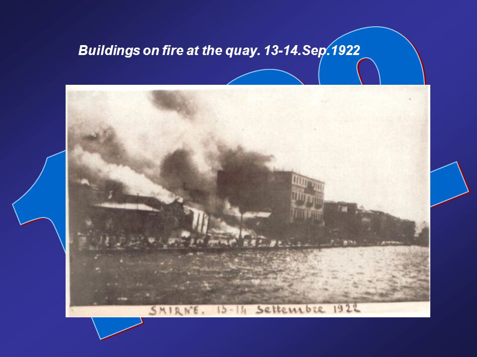 Buildings of the quay in flames