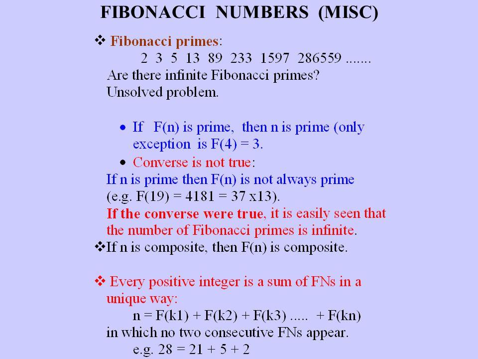 FIBONACCI NUMBERS (MISC)