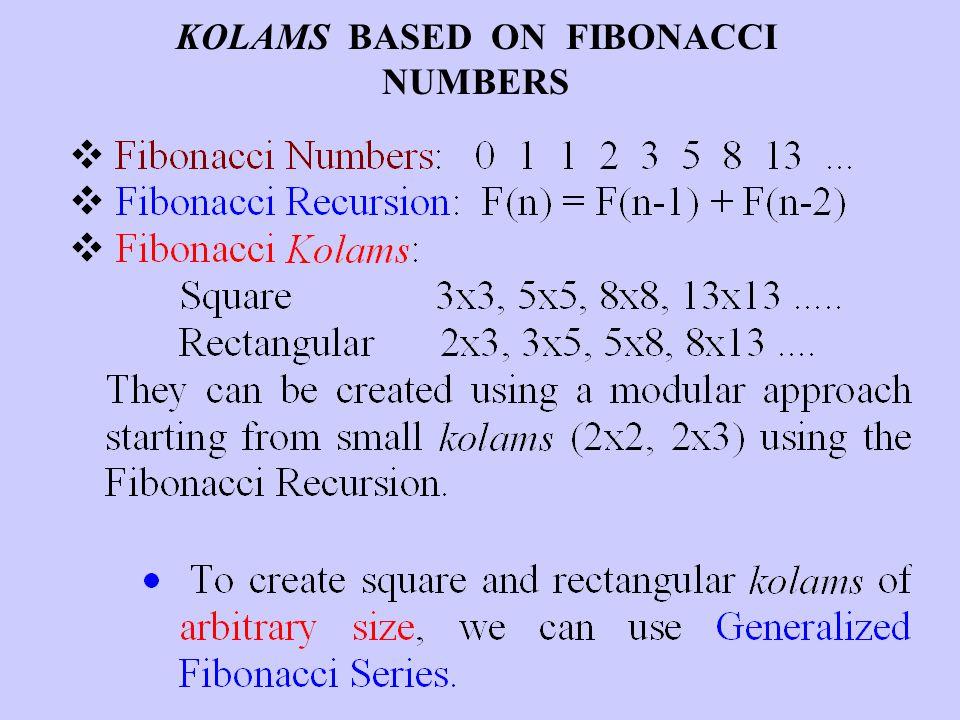 KOLAMS BASED ON FIBONACCI NUMBERS