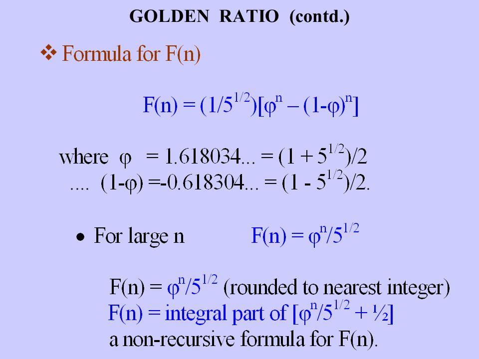 GOLDEN RATIO (contd.)