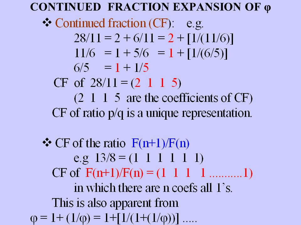 CONTINUED FRACTION EXPANSION OF φ