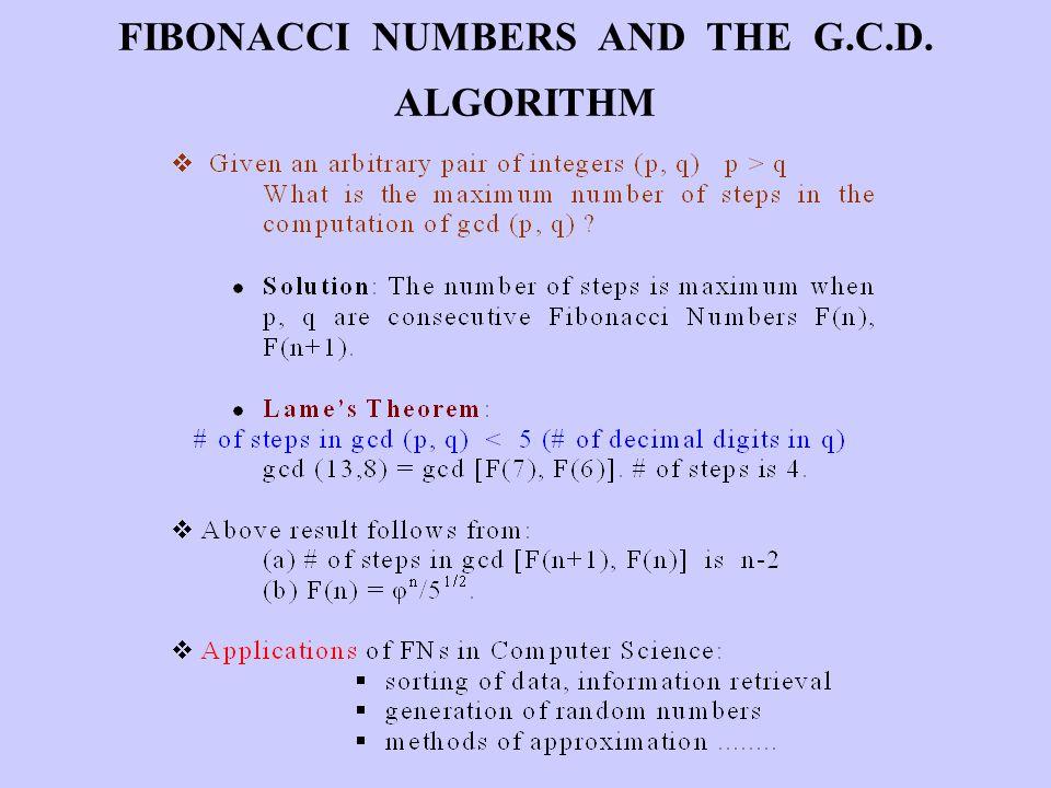 FIBONACCI NUMBERS AND THE G.C.D. ALGORITHM