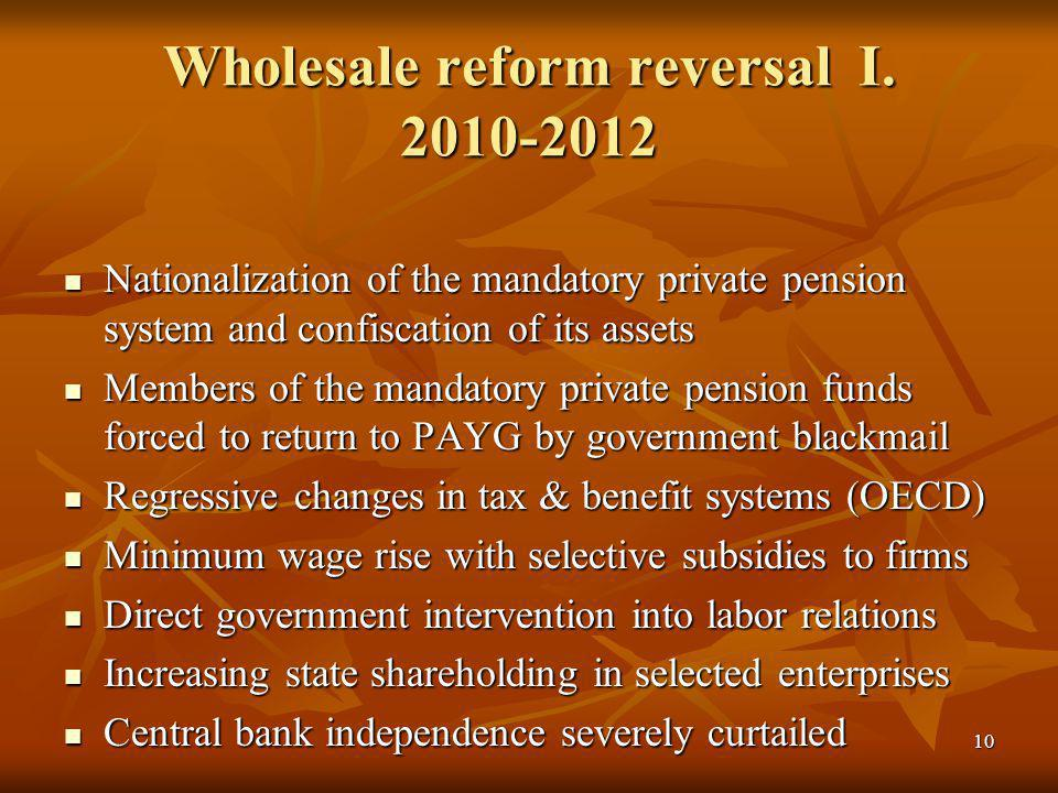 10 Wholesale reform reversal I.