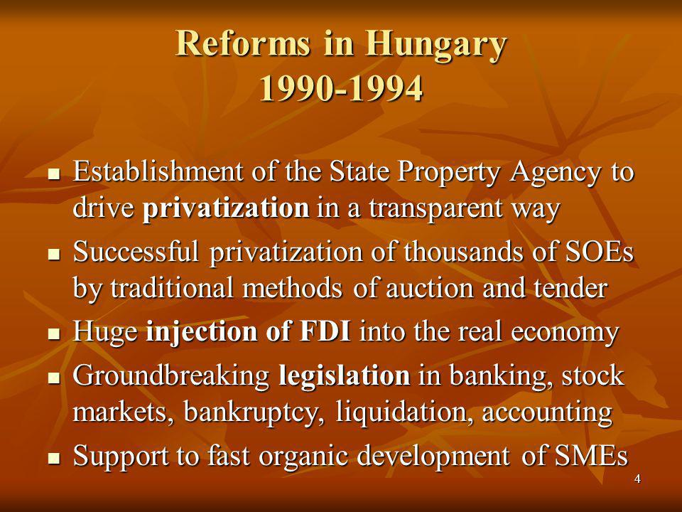 4 Reforms in Hungary 1990-1994 Establishment of the State Property Agency to drive privatization in a transparent way Establishment of the State Property Agency to drive privatization in a transparent way Successful privatization of thousands of SOEs by traditional methods of auction and tender Successful privatization of thousands of SOEs by traditional methods of auction and tender Huge injection of FDI into the real economy Huge injection of FDI into the real economy Groundbreaking legislation in banking, stock markets, bankruptcy, liquidation, accounting Groundbreaking legislation in banking, stock markets, bankruptcy, liquidation, accounting Support to fast organic development of SMEs Support to fast organic development of SMEs