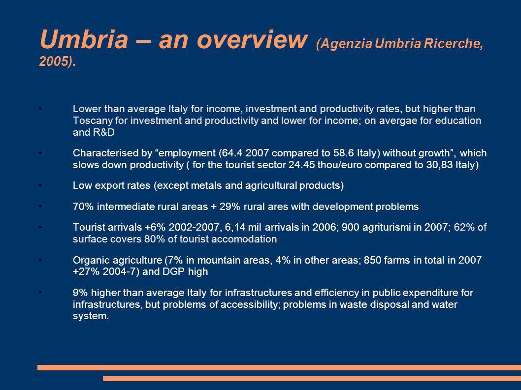 Umbria – an overview (Agenzia Umbria Ricerche, 2005).