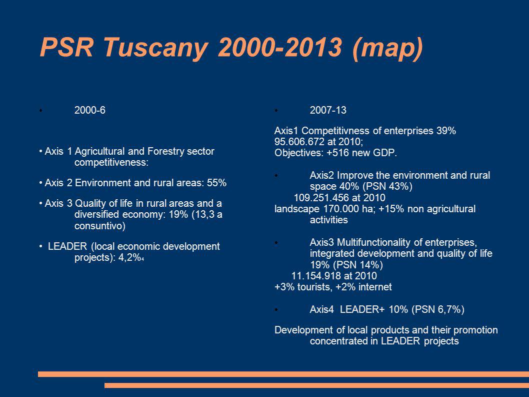 PSR Tuscany 2000-2013 (map) 2000-6 Axis 1 Agricultural and Forestry sector competitiveness: Axis 2 Environment and rural areas: 55% Axis 3 Quality of life in rural areas and a diversified economy: 19% (13,3 a consuntivo) LEADER (local economic development projects): 4,2% 4 2007-13 Axis1 Competitivness of enterprises 39% 95.606.672 at 2010; Objectives: +516 new GDP.