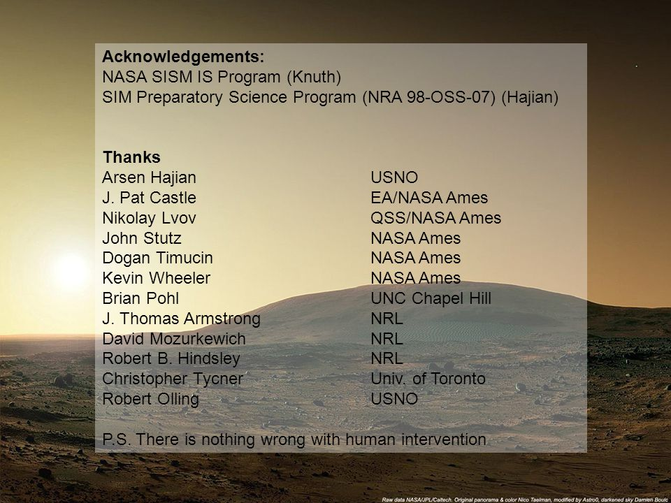 13 July 2007Dr. Kevin H. Knuth MAXENT 2007 Acknowledgements: NASA SISM IS Program (Knuth) SIM Preparatory Science Program (NRA 98-OSS-07) (Hajian) Tha