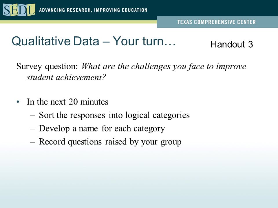 Qualitative Data – Your turn… Survey question: What are the challenges you face to improve student achievement.