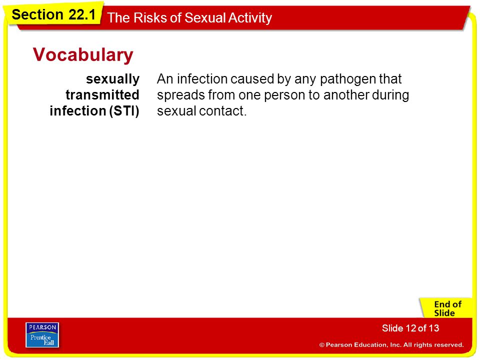 Section 22.1 The Risks of Sexual Activity Slide 12 of 13 Vocabulary sexually transmitted infection (STI) An infection caused by any pathogen that spre