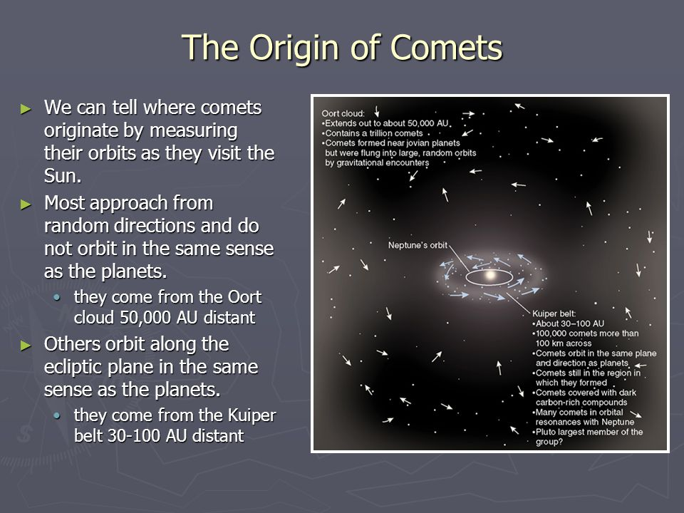 The Origin of Comets ► We can tell where comets originate by measuring their orbits as they visit the Sun. ► Most approach from random directions and