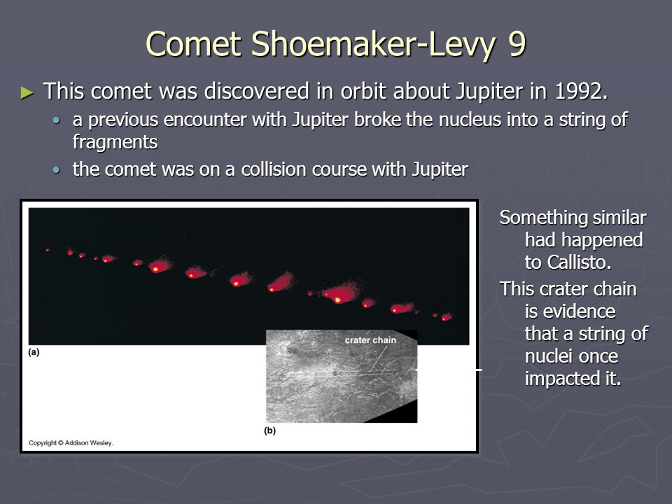 Comet Shoemaker-Levy 9 ► This comet was discovered in orbit about Jupiter in 1992. a previous encounter with Jupiter broke the nucleus into a string o