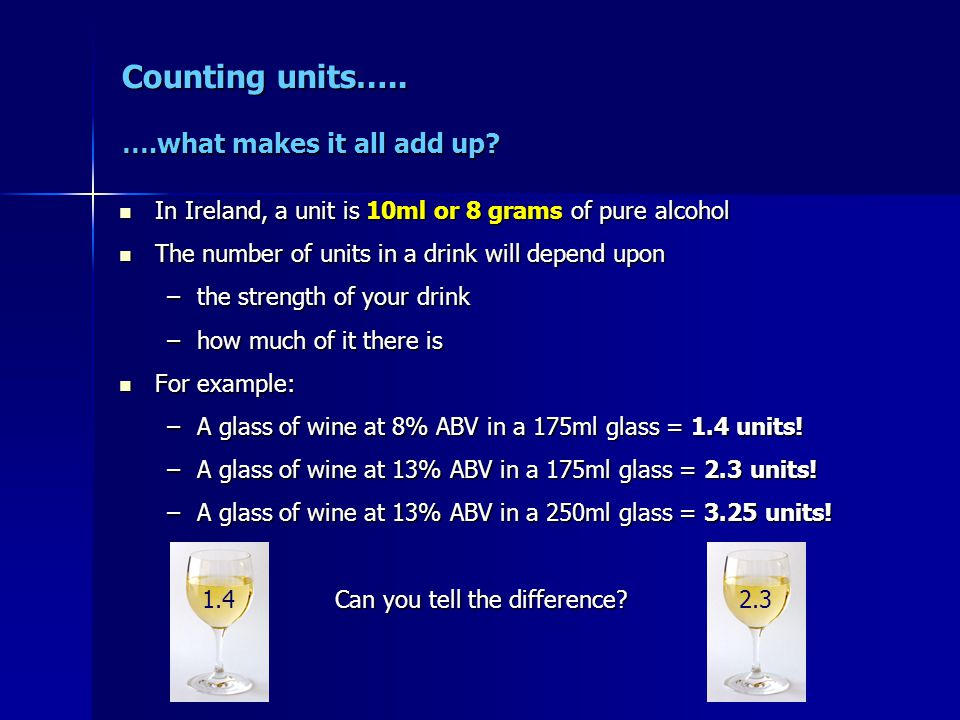 Counting units….. ….what makes it all add up? In Ireland, a unit is 10ml or 8 grams of pure alcohol In Ireland, a unit is 10ml or 8 grams of pure alco