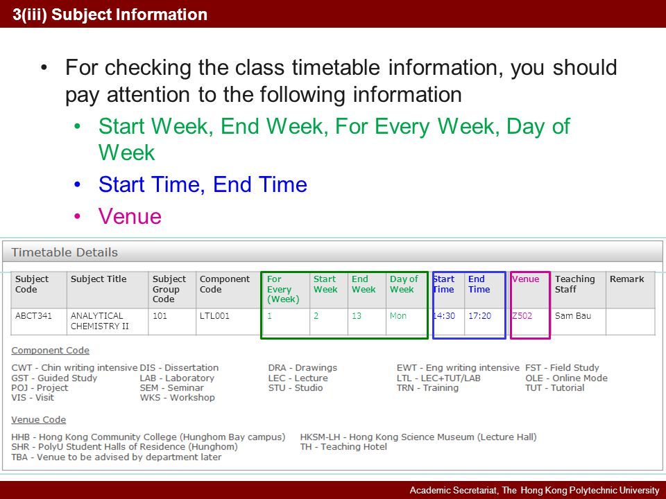 Academic Secretariat, The Hong Kong Polytechnic University 3(iii) Subject Information Subject Code Subject TitleSubject Group Code Component Code For Every (Week) Start Week End Week Day of Week Start Time End Time VenueTeaching Staff Remark ABCT341ANALYTICAL CHEMISTRY II 101LTL0011213Mon14:3017:20Z502Sam Bau For checking the class timetable information, you should pay attention to the following information Start Week, End Week, For Every Week, Day of Week Start Time, End Time Venue