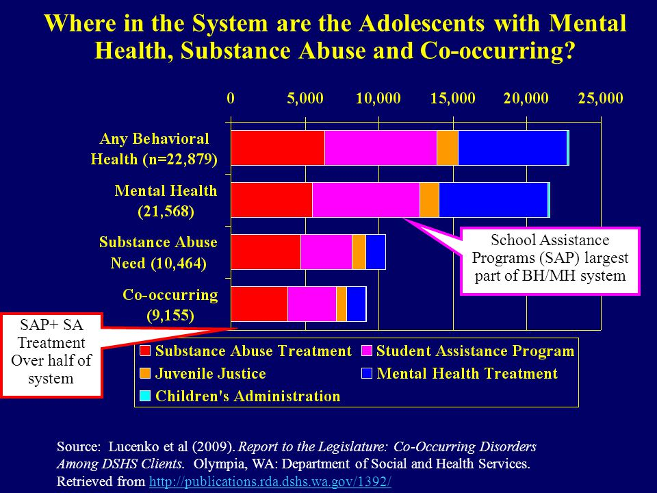 Where in the System are the Adolescents with Mental Health, Substance Abuse and Co-occurring? Source: Lucenko et al (2009). Report to the Legislature: