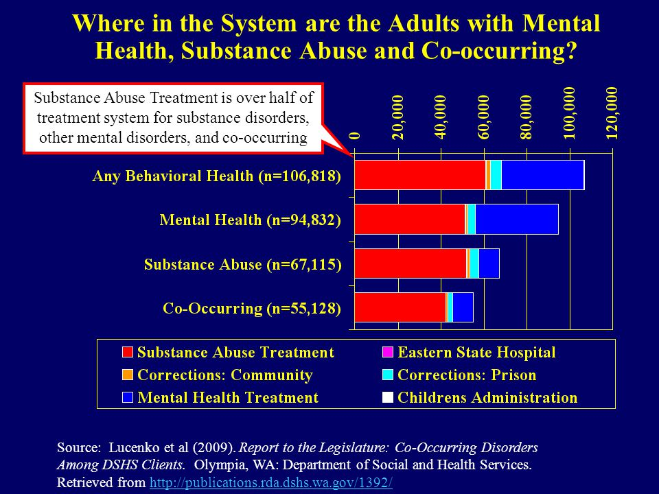 Where in the System are the Adults with Mental Health, Substance Abuse and Co-occurring? Source: Lucenko et al (2009). Report to the Legislature: Co-O