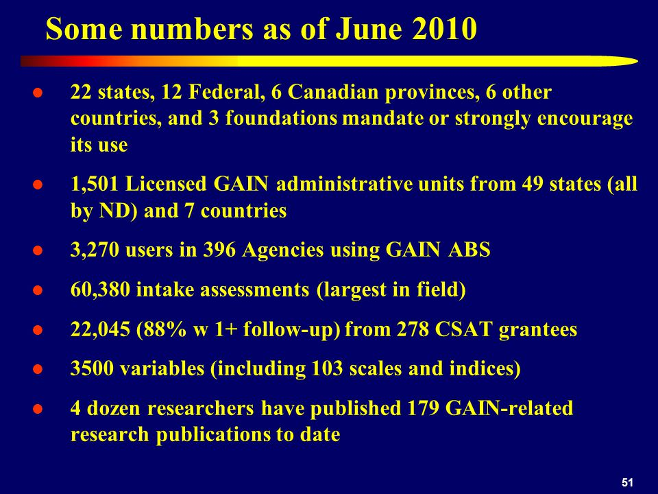 Some numbers as of June 2010 22 states, 12 Federal, 6 Canadian provinces, 6 other countries, and 3 foundations mandate or strongly encourage its use 1