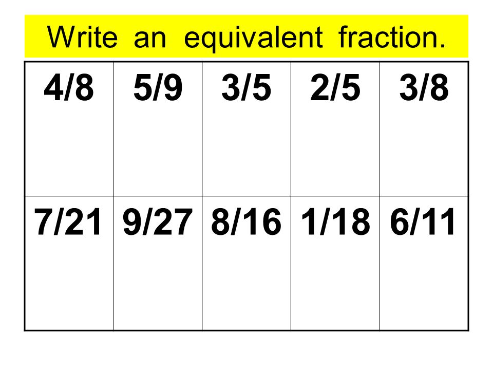 Write an equivalent fraction. 4/85/93/52/53/8 7/219/278/161/186/11