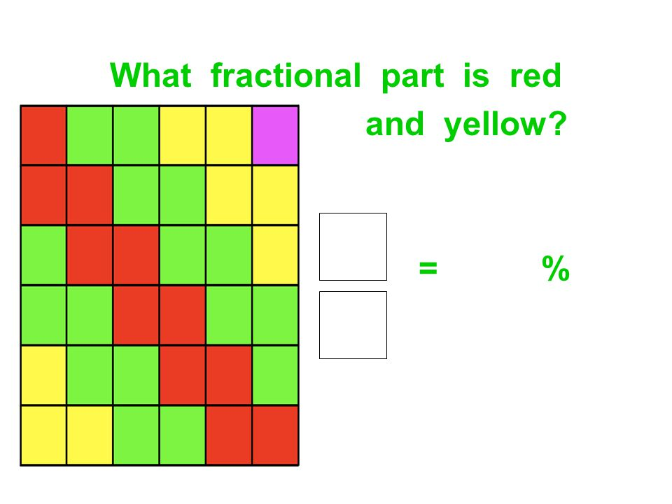 What fractional part is red and yellow? = %
