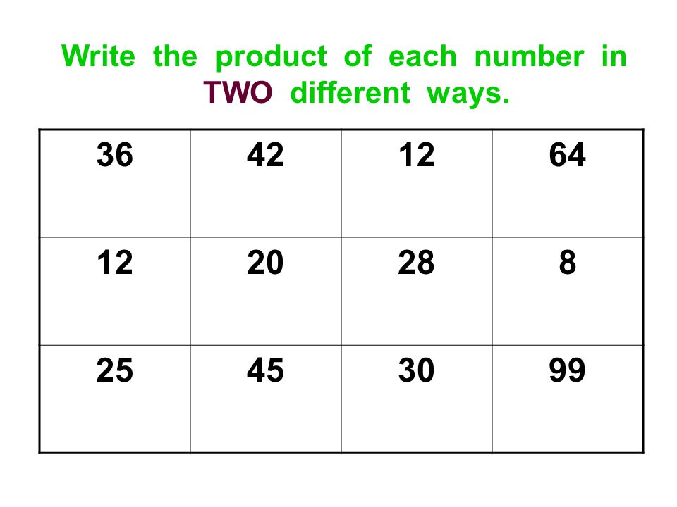 Write the product of each number in TWO different ways. 36421264 1220288 25453099