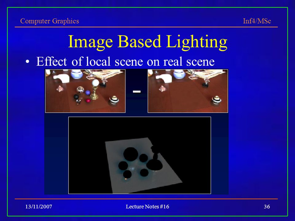 Computer Graphics Inf4/MSc 13/11/2007Lecture Notes #1636 Image Based Lighting Effect of local scene on real scene