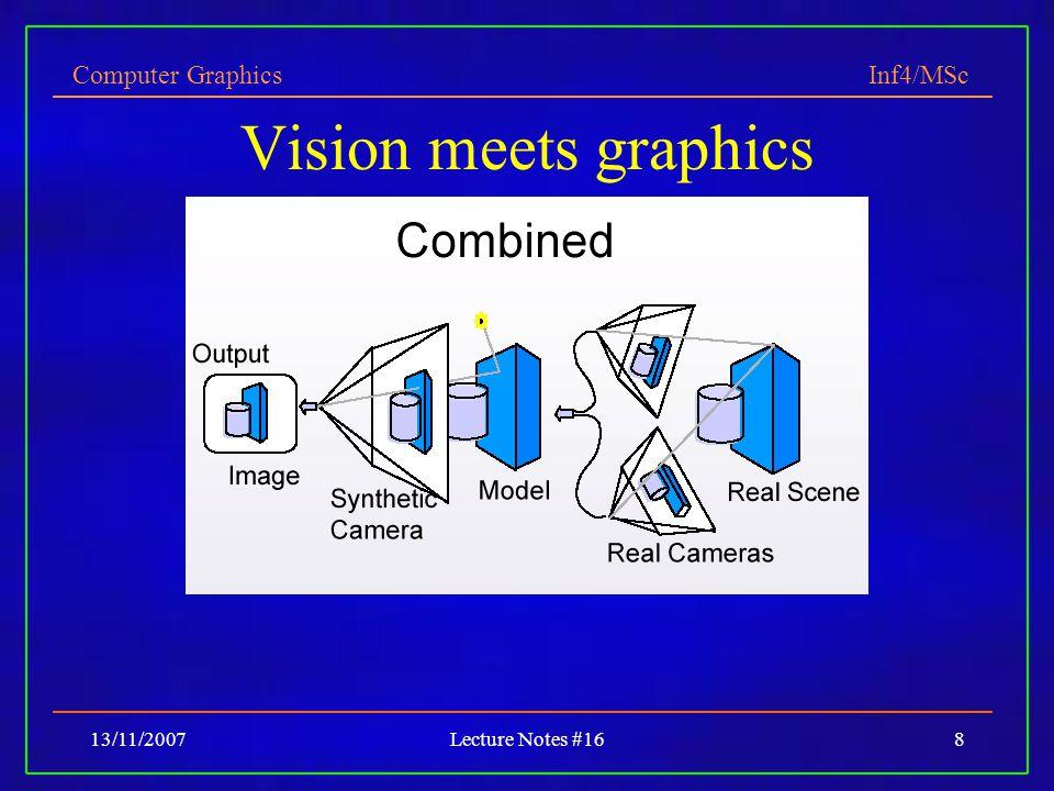 Computer Graphics Inf4/MSc 13/11/2007Lecture Notes #1629 Extracting scene lighting Capture illumination using illumination sphere